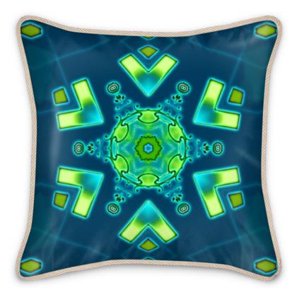 Blue and Aqua Funky Star #1 - Silk-Cushion
