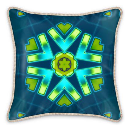 Blue and Aqua Funky Star #2 - Silk-Cushion