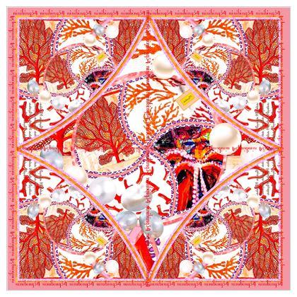Seidentuch 100 % reine Satinseide 115 x 115 cm  #ninibing34 Pearls & Corals