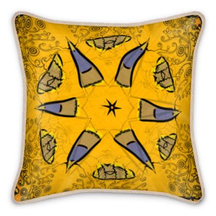 funky blue on yellow star floral silk cushion #1