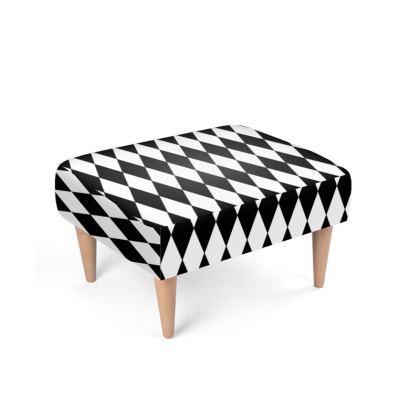 Footstool Black And White Diamond Pattern