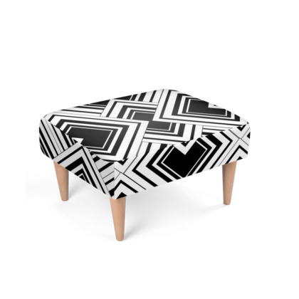 Art Deco Design Black And White Footstool