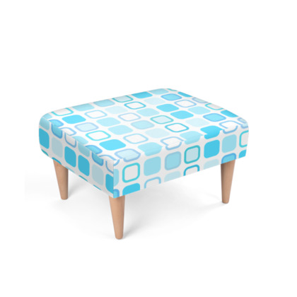 Retro Art Design Blue Footstool