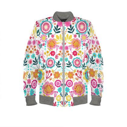 Bright symmetrical floral unisex bomber jacket