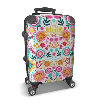 Symmetrical floral suitcase