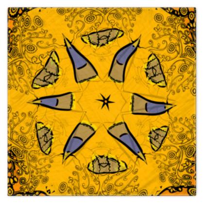 blue star on orange floral - scarf #1 - 90cm x 90cm