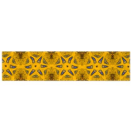 blue star on orange floral  - scarf #2 - 135cm x 31cm