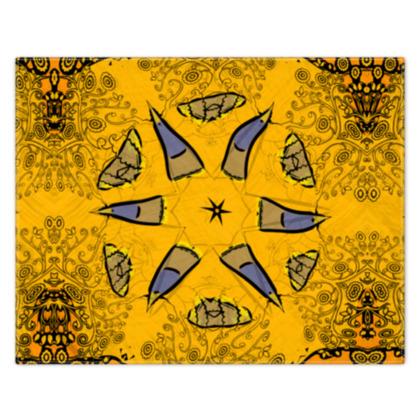 blue star on orange floral - scarf #3 - 133cm x 105cm