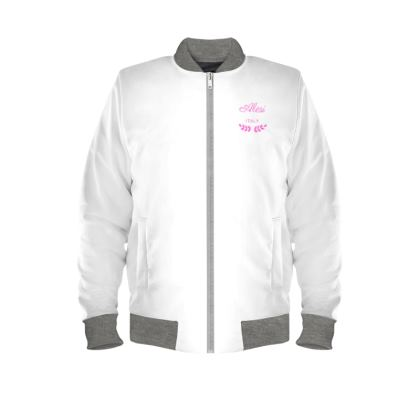 Alesi Custom Bomber Jacket- White/Pink/Grey