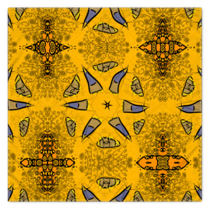 blue star on orange floral - scarf #4 - 115cm x 115cm