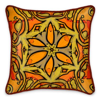 funky orange star floral silk cushion #2