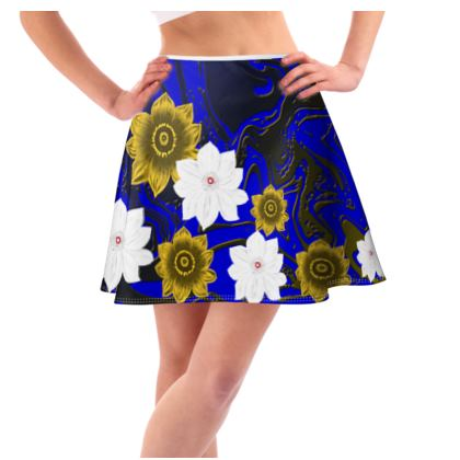 Flared Skirt blue stack of florals