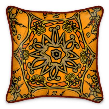 funky orange star floral silk cushion #1