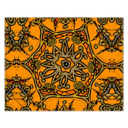 Funky Orange Star floral Scarf 133cm x 105cm