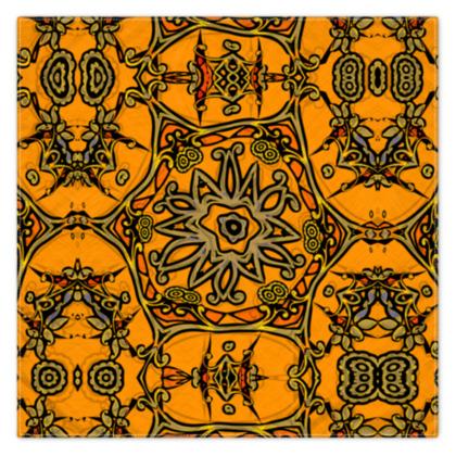 Funky Orange Star floral Scarf 115cm x 115cm