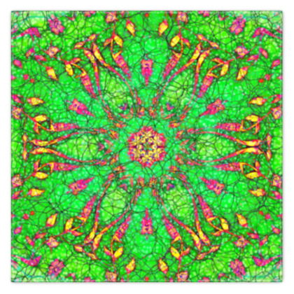 vibrant green, pink and yellow - scarf #1 - 90cm x 90cm