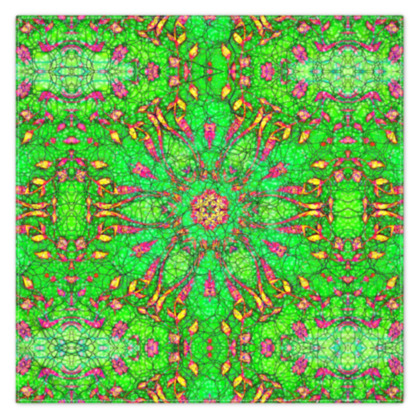 vibrant green, pink and yellow - scarf #4 - 115cm x 115cm