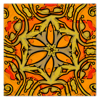Funky Red and Orange Star floral Scarf 133cm x 105cm