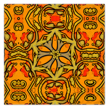 Funky Red and Orange Star floral Scarf 115cm x 115cm