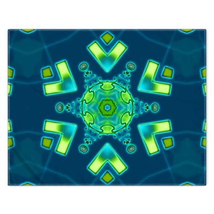 Funky Bue and Aqua Star floral Scarf 133cm x 105cm