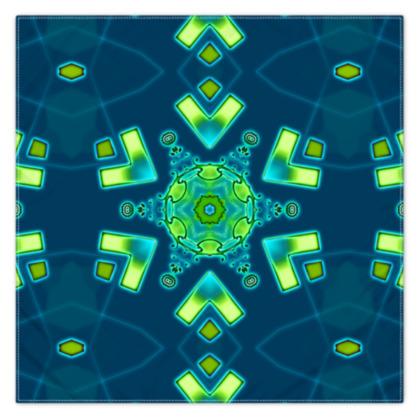 Funky Bue and Aqua Star floral Scarf 115cm x 115cm