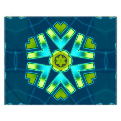 Funky Bue and Aqua Star 2 floral Scarf 133cm x 105cm