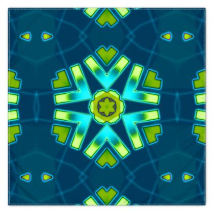 Funky Bue and Aqua Star 2 floral Scarf 115cm x 115cm
