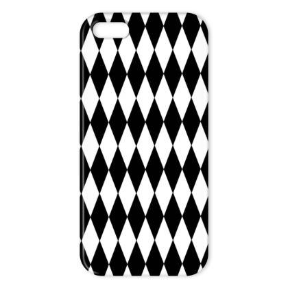 iPhone Case Black And White Diamond Pattern