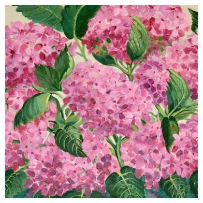Pink Hydrangeas Cushion by Alison Gargett