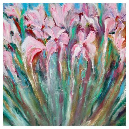 Pink Irises Cushion by Alison Gargett