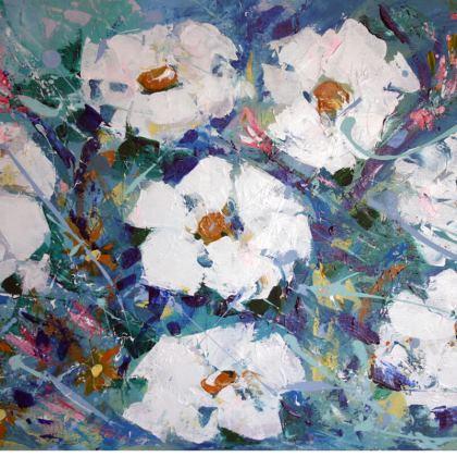 White Flowers on Blue Cushion by Alison Gargett