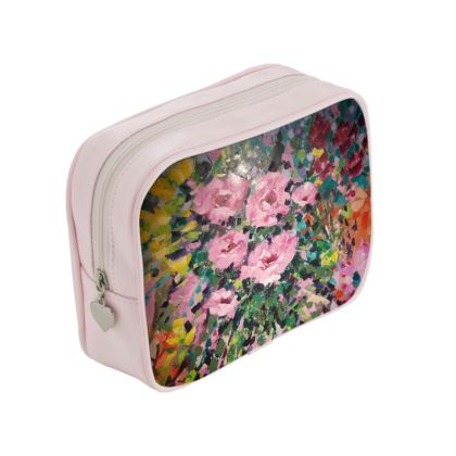 Pink Flowers Makeup Bag designed by Alison Gargett Artist