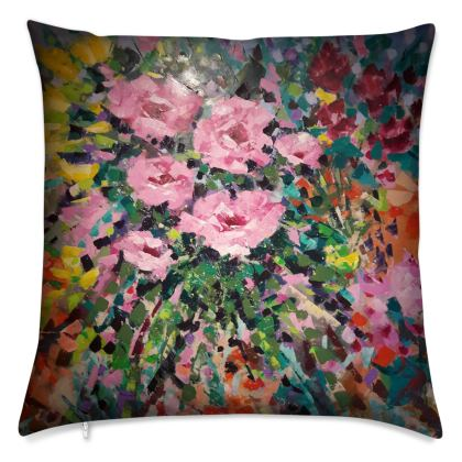 Pink Flowers in the Middle Cushion by Alison Gargett Artist and Designer