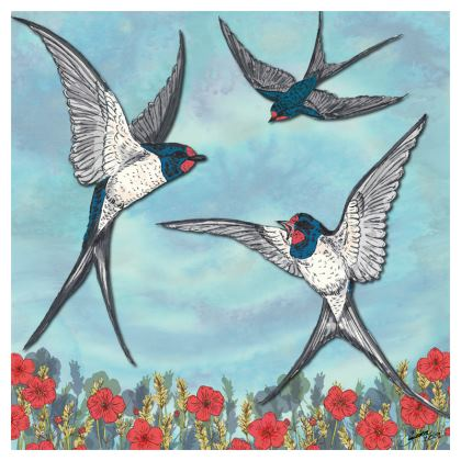 Summer Swallows China Plate