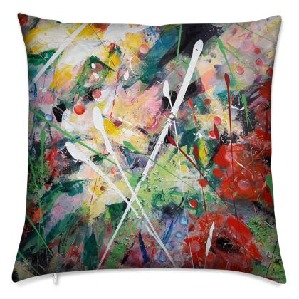 Poppies and Yellow Flowers Cushion by Alison Gargett