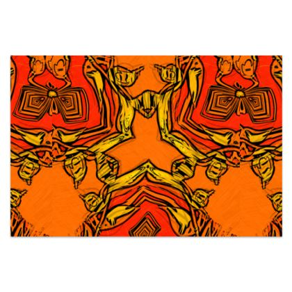 """Funky Orange and Red Abstract Triquetra - Sarong #1 - Classic Long - 66'x44"""" (167cmx110cm)"""