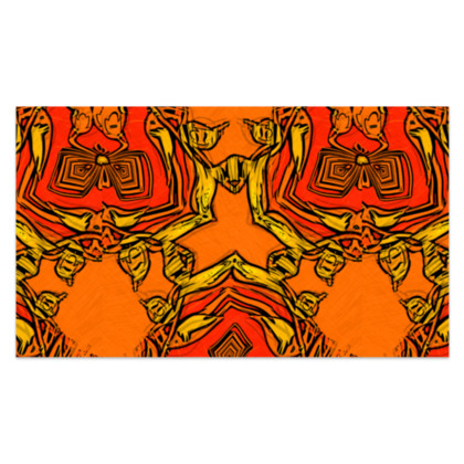 """Funky Orange and Red Abstract Triquetra - Sarong #3 - Plus Long - 76'x44"""" (193cmx110cm)"""