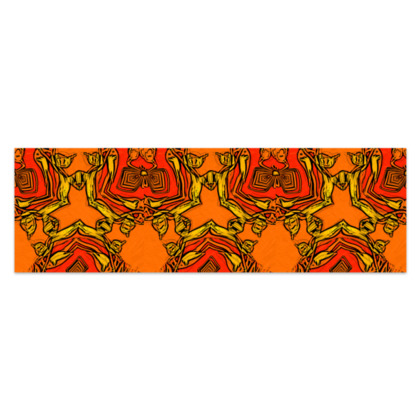 """Funky Orange and Red Abstract Triquetra - Sarong #4 - Plus Half - 76'x24"""" (193cmx60cm)"""