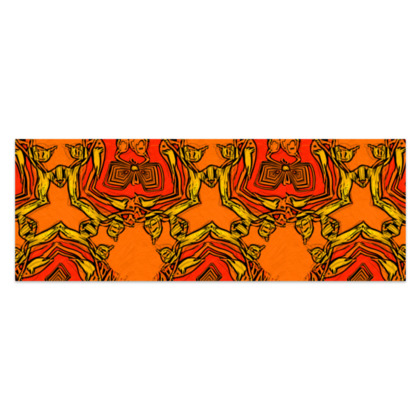 """Funky Orange and Red Abstract Triquetra - Sarong #2 - Classic Half - 66'x24"""" (167cmx60cm)"""