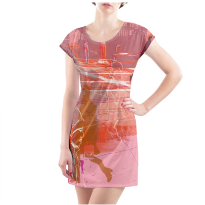 Ladies Tunic T Shirt - City illustration in Oranges and Pinks
