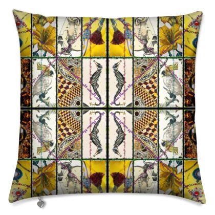 #ninibing34 Designerkissen 50 x 50 cm mit Federfüllung, Rückseite einfarbig, beige Design: ALMANACH 1824 by ninibing34