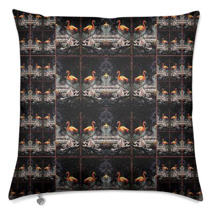 #ninibing34 Designerkissen 50 x 50 cm mit Federfüllung, Rückseite einfarbig, anthrazit