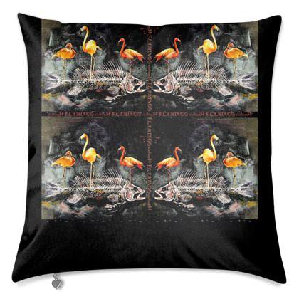 #ninibing34 Designerkissen 55 x 40 cm mit Federfüllung, Rückseite einfarbig, anthrazit