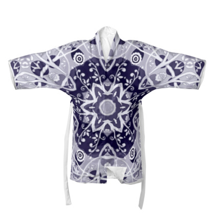 Blue Grey Floral Decorative Star #1 - Kimono/Robe