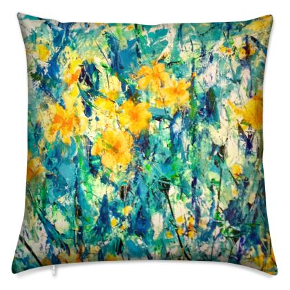Yellow Flowers Cushion by Alison Gargett