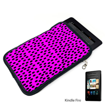Black Polka Dot Design Cerise Pink Kindle Case