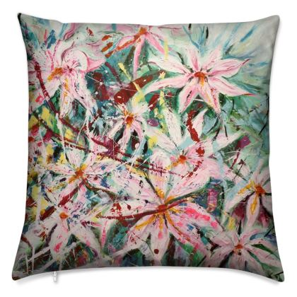 Pink Clematis Cushion by Alison Gargett