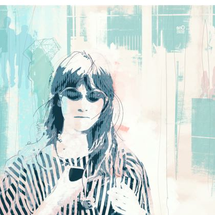 "Ladies T- shirt with Woman's Face in Blues - ""Brick Lane Blues"""
