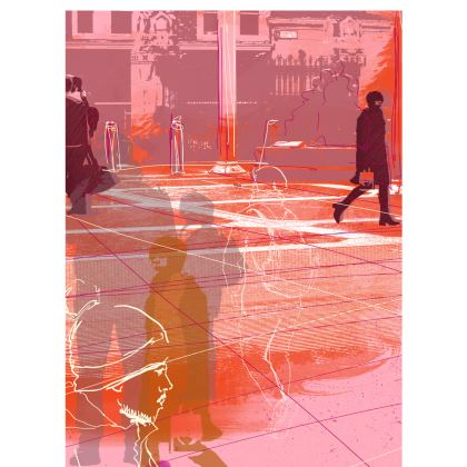 Ladies T-Shirt with Urban illustration in Pinks and Oranges
