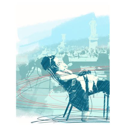 "Ladies T-Shirt - Woman's illustration in Turquoise - ""Dolce Far Niente"""